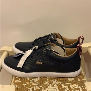 Lacoste Shoes - NWT Lacoste Navy Leather Ortholite Sneakers Sz 7